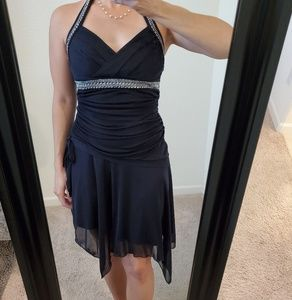 Navy Jeweled Halter Dress